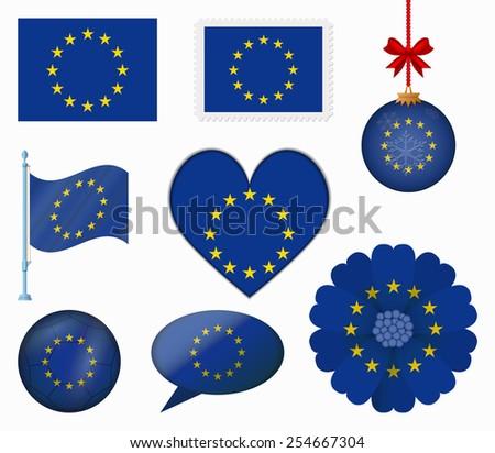 European Union flag set of 8 items vector - stock vector