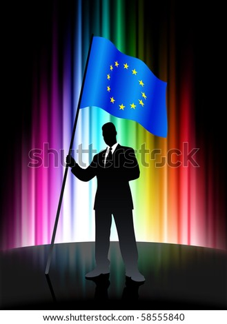 European Union Flag with Businessman on Abstract Spectrum Background Original Illustration - stock vector