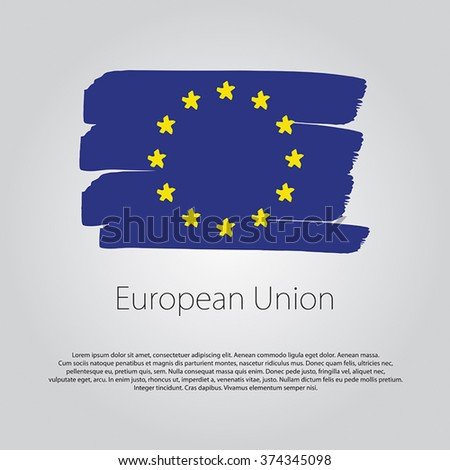 European Union Flag with colored hand drawn lines in Vector Format - stock vector