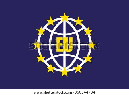 European Union flag with globe  and shadow - stock vector
