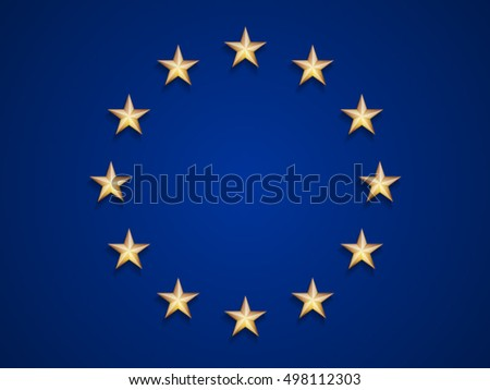 European Union flag with gold stars