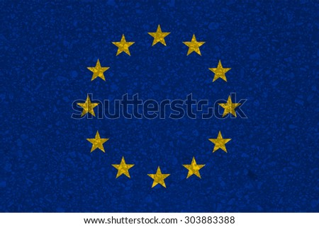 European Union flag with grunge texture.Vector template