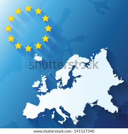 European Union flag with map of Europe background - stock vector