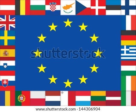 European Union flags icons frame - stock vector