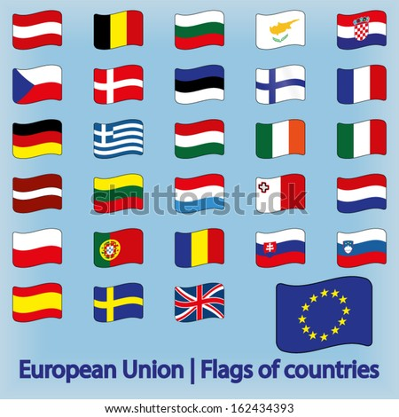 European Union Flags of Countries Waving