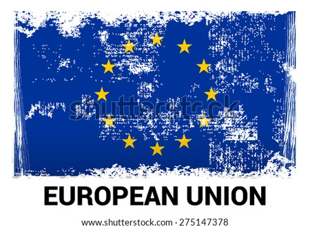 European union grunge flag isolated vector in official colors and Proportion Correctly. country's name label in bottom - stock vector