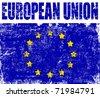 European Union grunge flag, vector illustration - stock