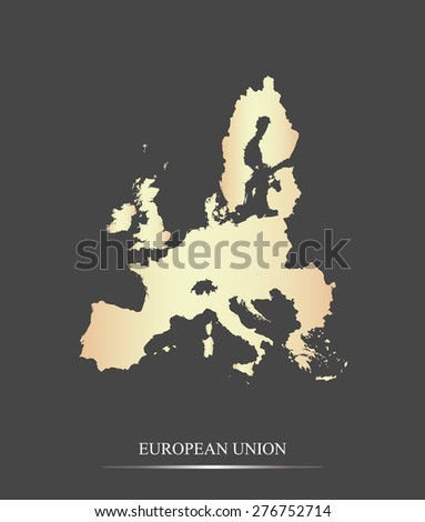 European Union map outlines in an abstract black and white design, vector map of European Union in a grey background - stock vector