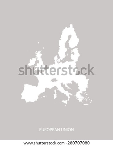 European Union map outlines in faded grey background, European Union map vector for brochure template, tourist map, advertisement, web page design, science and education uses - stock vector