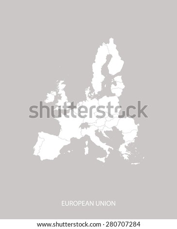 European Union map outlines with countries in faded grey background, European Union map vector for brochure template, tourist map, advertisement, web page design, science and education uses - stock vector