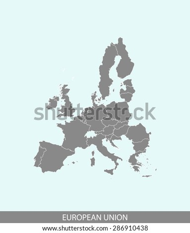 European Union map vector, European Union map outlines in a contrasted background for brochure design and publication uses - stock vector