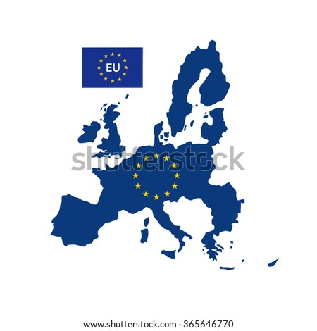 European union map with flag - stock vector