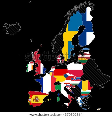 European Union map with flags. Illustration on black background - stock vector