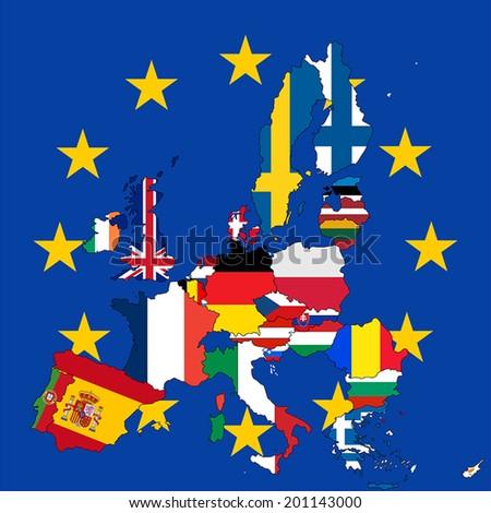 European Union member states flag map vector illustration. - stock vector