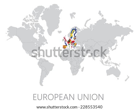 European  Union on world map on white background - stock vector