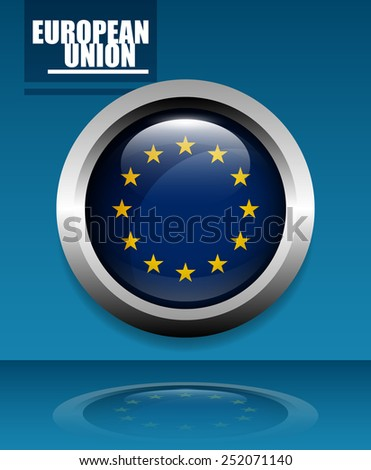 European Union Rounded Shiny Badge with Reflection on Blue Background, EPS 10 - stock vector