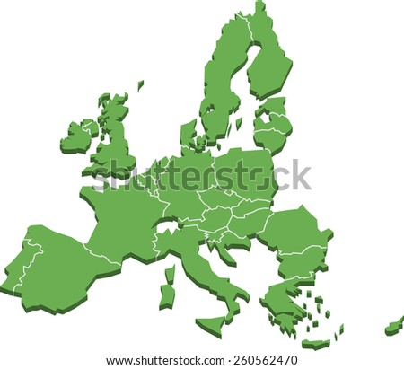 European Union Three-Dimensional Stylized Map Isolated On White Background, EPS 10 Vector - stock vector