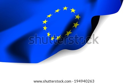 European Union waving flag isolated against white background, vector illustration