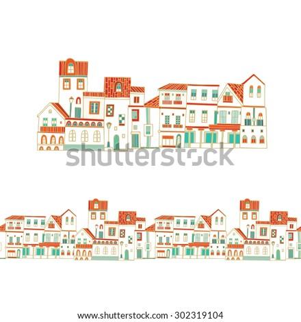 European village - stock vector