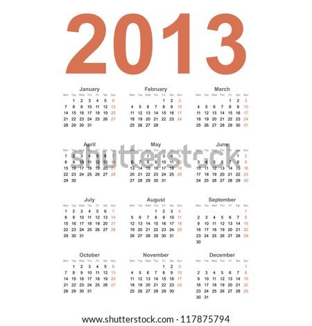European 2013 year vector calendar - stock vector