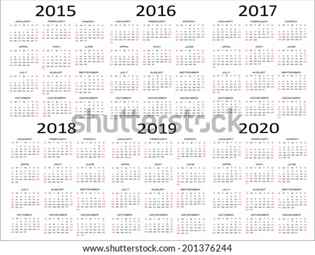 European 2015, 2016, 2017, 2018, 2019, 2020 year vector calendars - stock vector