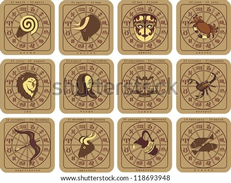 european zodiac - stock vector