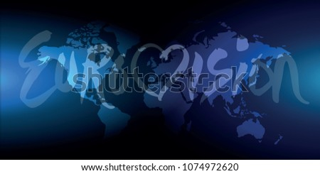Eurovision lettering world map dark background stock vector eurovision lettering world map dark background vector gumiabroncs Choice Image
