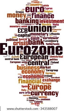 Eurozone word cloud concept. Vector illustration