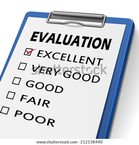 evaluation clipboard with check boxes marked for excellent, very good, good, fair and poor - stock vector