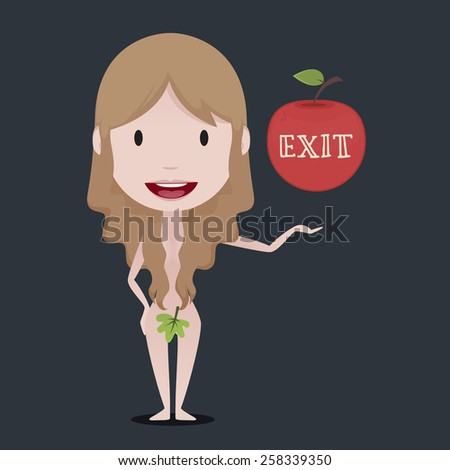Eve offering an exit from paradise - stock vector