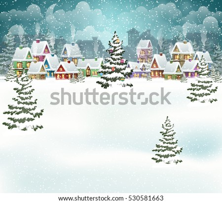 Evening city winter landscape with snow covered houses and  christmas tree. Holidays vector illustration