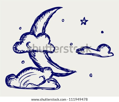 Evening crescent. Doodle style - stock vector
