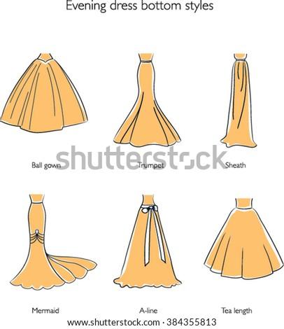Evening Dress Bottom Style Set Wedding Skirts Vector Illustrations
