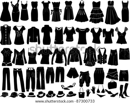 Evening dresses and accessories - stock vector
