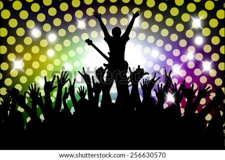 Evening in night club. people against color illumination - stock vector
