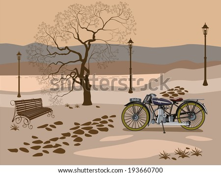 Evening in the park near the lake - stock vector