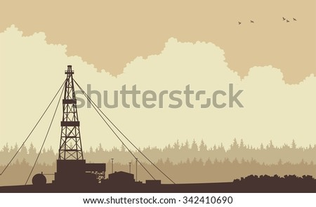 evening landscape silhouette oil rig on the background of coniferous forests - stock vector