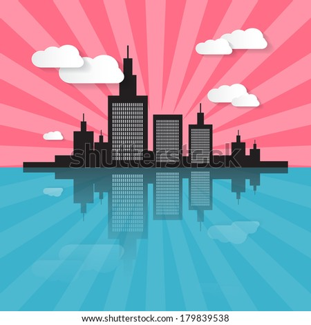 Evening - Morning City Scape Illustration  - stock vector