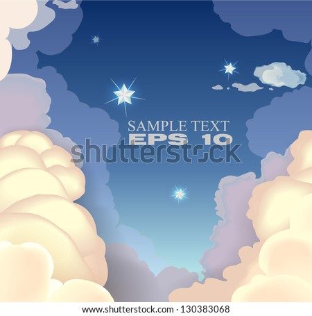 Evening sky with clouds and stars. vector illustration EPS 10 - stock vector