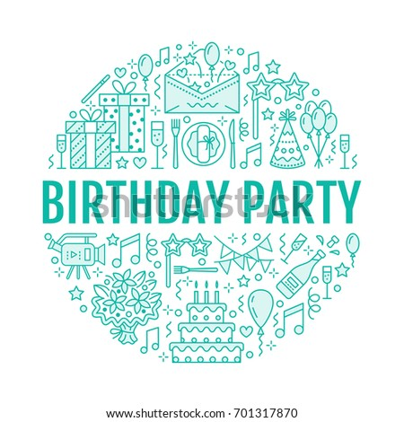 Event Agency Birthday Party Banner With Vector Line Icon Of Catering Cake Balloon