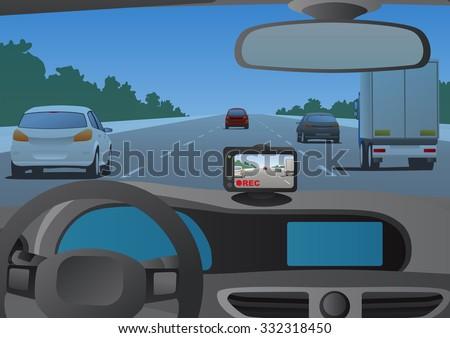 Event Data Recorder(Drive Recorder), vector illustration - stock vector