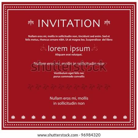 event invitation in dark red - stock vector