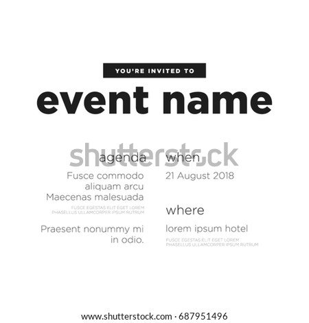 Event invitation template agenda venue date stock vector 687951496 event invitation template with agenda venue and date details stopboris Choice Image