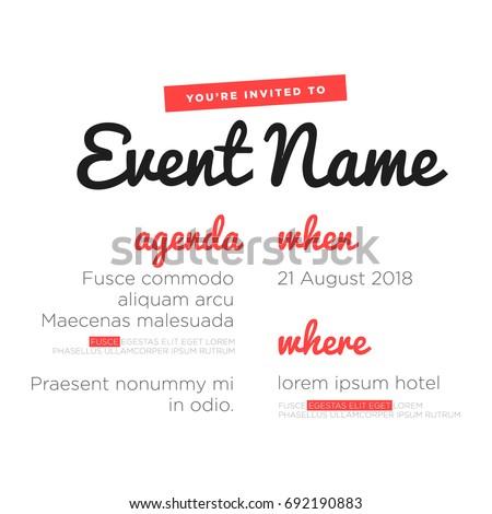 Event Invitation Template Agenda Venue Date Stock Vector 692190883 ...