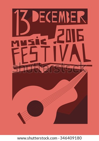 Event poster or flyer with acoustic guitar. Vector flyer - stock vector