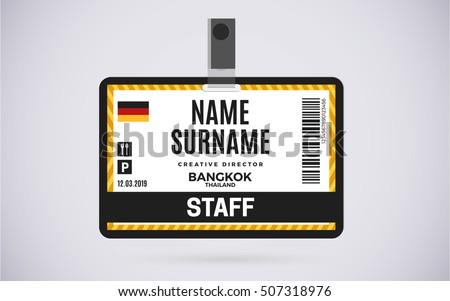staff id badge template - event staff id card plastic badge stock vector 507318976