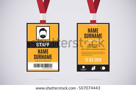 Event Staff Id Card Set Lanyard Stock Vector 507074443 - Shutterstock
