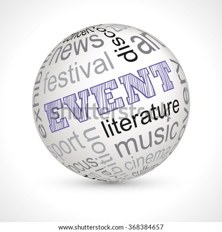 Event theme sphere with keywords full vector