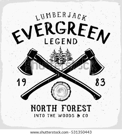 Evergreen legend print in black and white for t shirt or apparel retro outdoor adventure