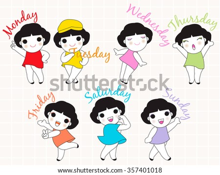 Every Day A Happy Day Character illustration set  - stock vector